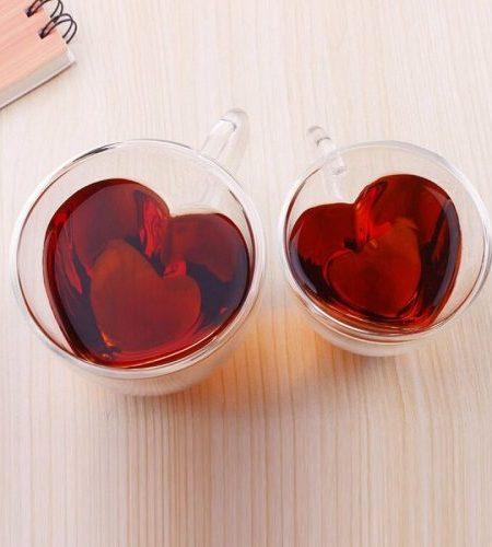 لیوان شیشه ای دوجداره قلبی