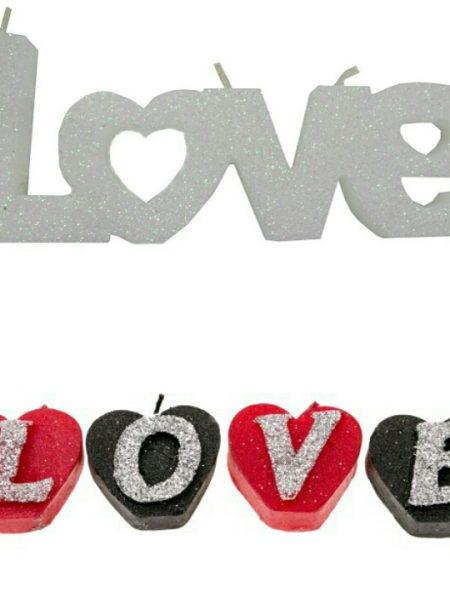 شمع LOVE طرح قلب