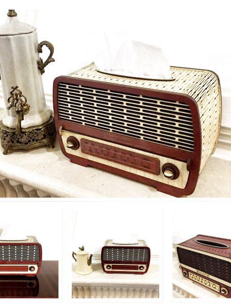 جا دستمال کاغذی چوبی طرح رادیو قدیمی